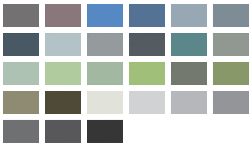 Béton Ciré colour chart for Modern Home Solutions